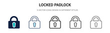 Locked Padlock Icon In Filled, Thin Line, Outline And Stroke Style. Vector Illustration Of Two Colored And Black Locked Padlock Vector Icons Designs Can Be Used For Mobile, Ui, Web