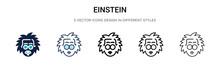 Einstein Icon In Filled, Thin ...