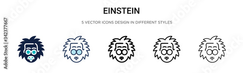 Einstein icon in filled, thin line, outline and stroke style Poster Mural XXL