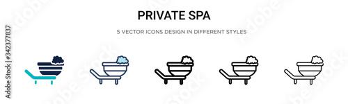 Carta da parati Private spa icon in filled, thin line, outline and stroke style