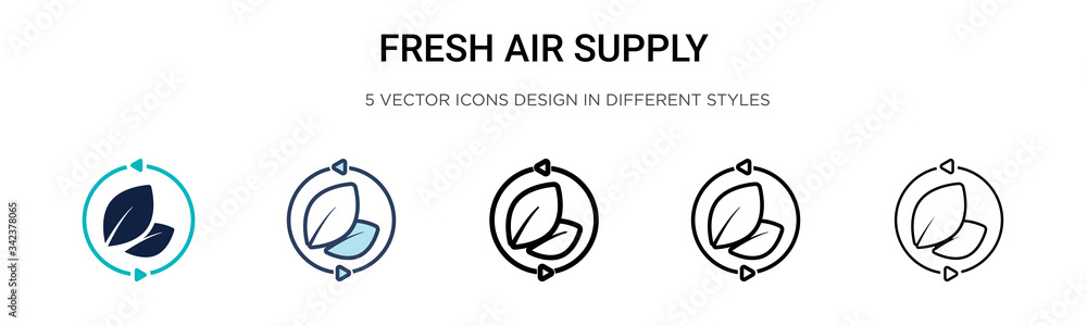 Fototapeta Fresh air supply icon in filled, thin line, outline and stroke style. Vector illustration of two colored and black fresh air supply vector icons designs can be used for mobile, ui, web