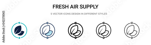 Photo Fresh air supply icon in filled, thin line, outline and stroke style
