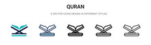Quran Icon In Filled, Thin Lin...