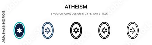 Atheism icon in filled, thin line, outline and stroke style Canvas Print