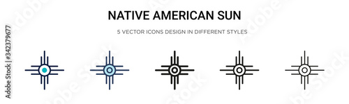 Obraz na plátně Native american sun icon in filled, thin line, outline and stroke style