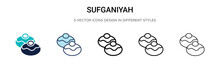 Sufganiyah Icon In Filled, Thin Line, Outline And Stroke Style. Vector Illustration Of Two Colored And Black Sufganiyah Vector Icons Designs Can Be Used For Mobile, Ui, Web
