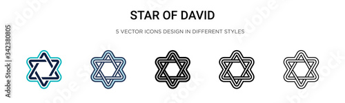 Star of david icon in filled, thin line, outline and stroke style Canvas-taulu
