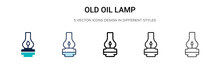 Old Oil Lamp Icon In Filled, T...