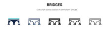 Bridges Icon In Filled, Thin Line, Outline And Stroke Style. Vector Illustration Of Two Colored And Black Bridges Vector Icons Designs Can Be Used For Mobile, Ui, Web