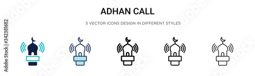 Photo Adhan call icon in filled, thin line, outline and stroke style