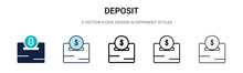 Deposit Icon In Filled, Thin L...