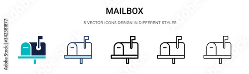 Fototapeta Mailbox icon in filled, thin line, outline and stroke style
