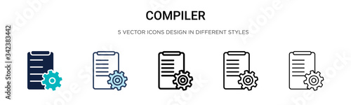 Photo Compiler icon in filled, thin line, outline and stroke style