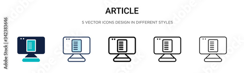 Photo Article icon in filled, thin line, outline and stroke style
