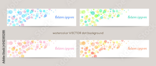 Set of colorful vector watercolor backgrounds with white space for text Tableau sur Toile