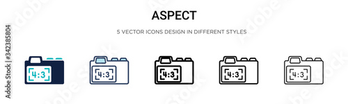 Photo Aspect icon in filled, thin line, outline and stroke style