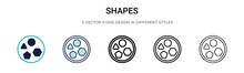 Shapes Icon In Filled, Thin Li...