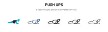 Push Ups Icon In Filled, Thin ...