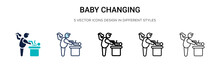 Baby Changing Icon In Filled, ...