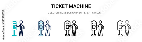 Ticket machine icon in filled, thin line, outline and stroke style Canvas Print