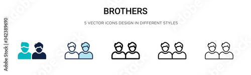 Brothers icon in filled, thin line, outline and stroke style Canvas Print