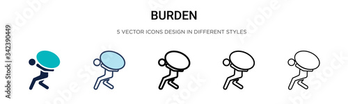 Obraz Burden icon in filled, thin line, outline and stroke style. Vector illustration of two colored and black burden vector icons designs can be used for mobile, ui, web - fototapety do salonu