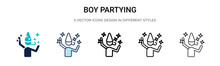 Boy Partying Icon In Filled, T...