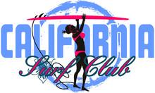 Surfer Woman Palm Beach Graphic Design Vector Art