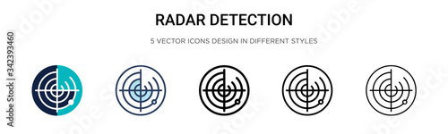 Obraz Radar detection icon in filled, thin line, outline and stroke style. Vector illustration of two colored and black radar detection vector icons designs can be used for mobile, ui, web - fototapety do salonu