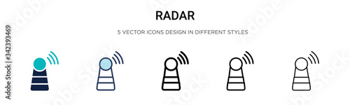 Fotomural Radar icon in filled, thin line, outline and stroke style