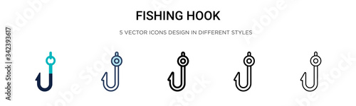 Fishing hook icon in filled, thin line, outline and stroke style Wallpaper Mural