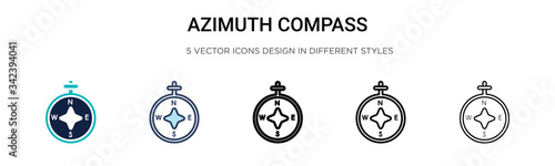 Photo Azimuth compass icon in filled, thin line, outline and stroke style