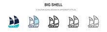 Big Shell Icon In Filled, Thin...