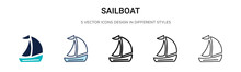 Sailboat Icon In Filled, Thin ...