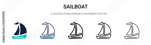 Leinwand Poster Sailboat icon in filled, thin line, outline and stroke style
