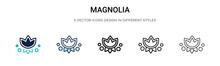 Magnolia Icon In Filled, Thin ...