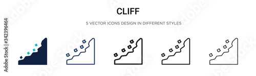 Tablou Canvas Cliff icon in filled, thin line, outline and stroke style