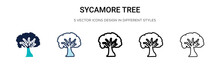 Sycamore Tree Icon In Filled, Thin Line, Outline And Stroke Style. Vector Illustration Of Two Colored And Black Sycamore Tree Vector Icons Designs Can Be Used For Mobile, Ui, Web