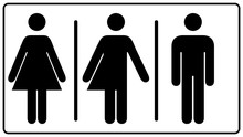 All Gender Restroom Sign. Male, Female Transgender. Vector Illustration. Black Symbols Isolated On White. Mandatory Banner. Set Of Female, Male And Transgender People Silhouettes