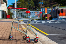 An Abandoned - Unattended. Shopping Trolley In The Street In Australia.