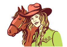 Woman With Cowboy Hat Portrait And Horse. Vector Color Han Drawn Illustration Isolated On White. Cute Girl With Western Clothes.