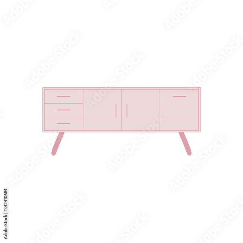 Pink sideboard flat vector illustration isolated on a white background Canvas-taulu