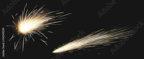 Fotografija Realistic sparks of weld metal blade, firework petard flare, comet trail
