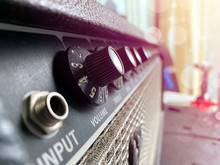 Close-up Of The Power Amplifier In A Classic Shape On The Background Of The Sunrise And Bokeh.