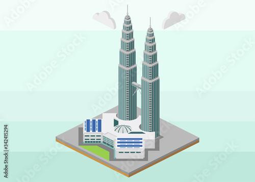 Isometric vector icon or infographic element representing landmark of Kuala Lump Canvas Print