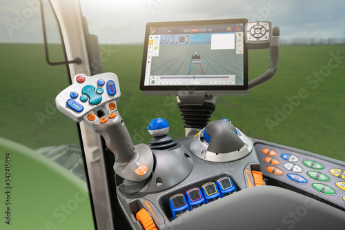 Aufkleber - Tractor with system of precision agriculture. Smart farming