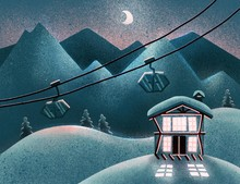 Winter Frosty Background With A Hotel In Snowy Mountains At Night. Wooden Chalet House In Resort For Skiing, Snowboarding. Colorful Backdrop With Cozy, Modern Cottage. Flat Textured Illustration.