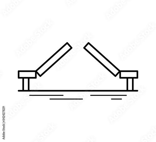 Photo Moveable bridge line icon isolated on white background