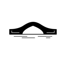 Arch Bridge Black Silhouette Icon Isolated On White Background. Different Types Of Bridges. Urban Architecture. Vector Illustration.