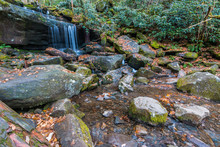 Small Water Fall On Le Cont Creek Along The Rainbow Falls Trail In The Roaring Fork, Great Smoky Mountains National Park, Tennessee, USA